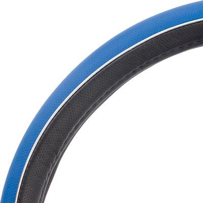 """708-051 NEW GALAXY Оплетка руля, экокожа, с """"метал"""". молдингом, черный/синий, разм. (М)"""