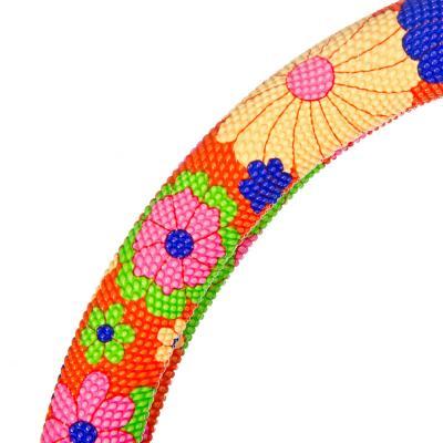 708-052 NEW GALAXY Оплетка руля, Цветы, пестрый/синий, разм. (М)