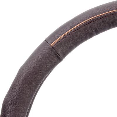 708-067 NEW GALAXY Оплетка руля, кожа PU + вставка, рельеф, шоколад, разм. (М)