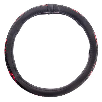 708-069 NEW GALAXY Оплетка руля экокожа, плетёные вставки, черный/красный, разм. (М)