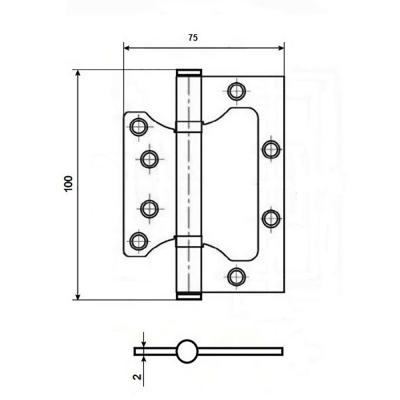 620-183 KORAL Петля накладная (БЕЗ ВРЕЗКИ) 4x3x2 ss, матовый хром