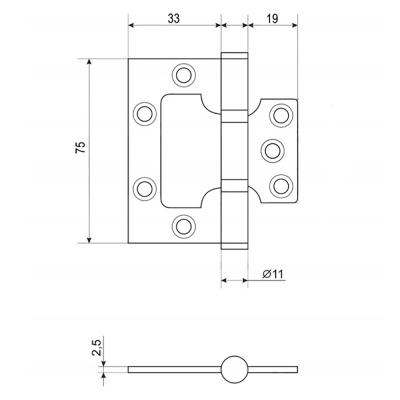 620-189 KORAL Петля накладная (БЕЗ ВРЕЗКИ) 3x2,5x2,5 cp, хром