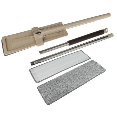 444-316 VETTA Швабра 360° съемная с отжимом и щеткой для чистки доп.насадка 36см 128см нерж.сталь пластик