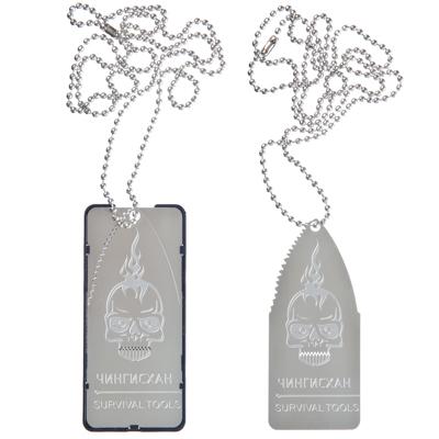 118-080 Нож/пила-кулон ЧИНГИСХАН с цепочкой пластик/металл