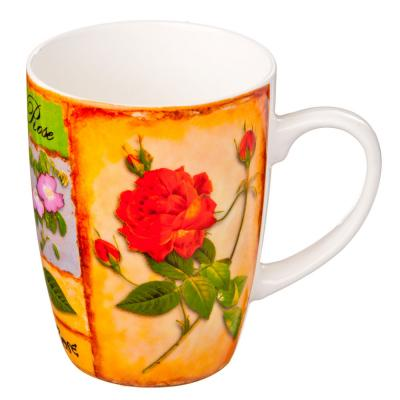 """806-066 Кружка 350мл, фрф, """"Розы"""", 4 цвета"""