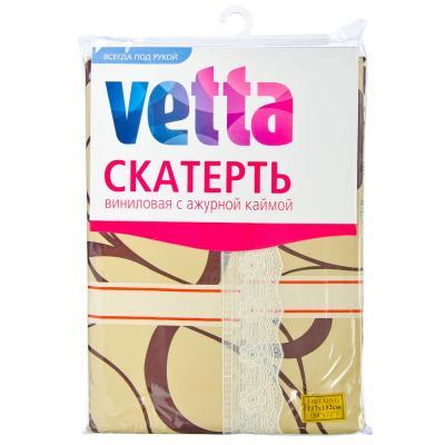 479-158 Скатерть на стол виниловая клеенка с ажурной каймой VETTA 137x182см