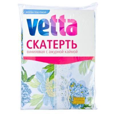 479-164 Скатерть на стол виниловая, клеенка с ажурной каймой, 137x182см, VETTA
