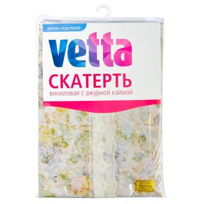 479-166 Скатерть на стол виниловая, клеенка с ажурной каймой, 120x152см, VETTA