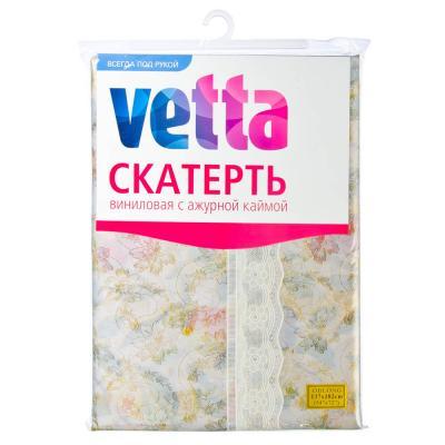 479-167 Скатерть на стол виниловая, клеенка с ажурной каймой, 137x182см,  VETTA