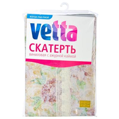 479-168 Скатерть на стол виниловая, клеенка с ажурной каймой, 120x152см, VETTA