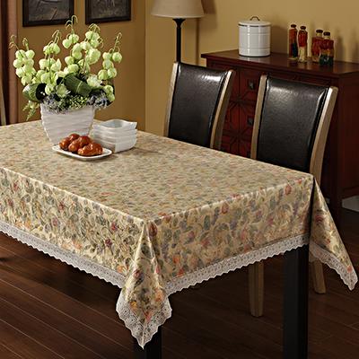 479-171 Скатерть на стол виниловая, клеенка с ажурной каймой, 137x182см, VETTA