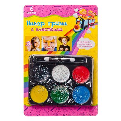 284-185 Набор грима с блестками, 6 цветов, аппликатор в комплекте, 12,7х18,8см, масляный грим, пластик