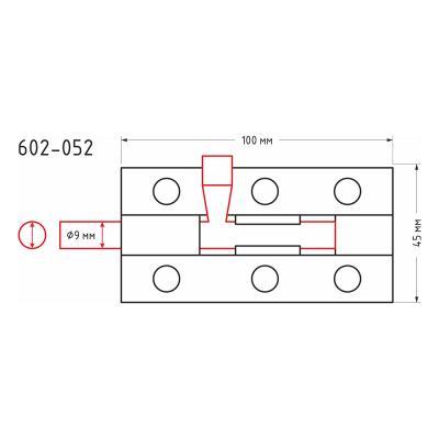 602-052 Засов дверной, сталь, ЗД-100х45мм (d9мм), покрытие белый цинк