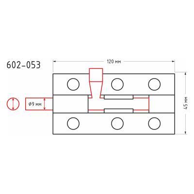 602-053 Засов дверной, сталь, ЗД-120х45мм (d9мм), покрытие белый цинк