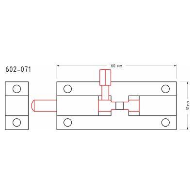 602-071 Шпингалет 60х31мм, сталь, хром