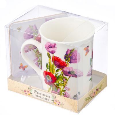 """806-076 Набор чайный 2 пр. кружка 280мл с подставкой, """"Цветы в подарок"""" фрф, подар.уп"""