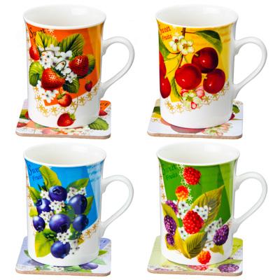 """806-077 Набор чайный 2 пр. кружка 280мл с подставкой, """"Спелые ягоды"""" фрф, подар.уп"""