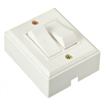 905-038 Выключатель накладной, двухклавишный, 10А 220В, пластик