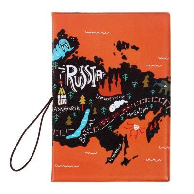 334-061 PAVO Обложка для паспорта с удерживающей резинкой, с отд. для вод.удостов, ПВХ, 13,7х9,6см, 6диз