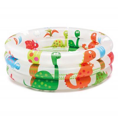 109-091 Бассейн надувной детский, круглый с динозаврами, 61х22 см, возраст от 1 до 3 лет, INTEX, 57106