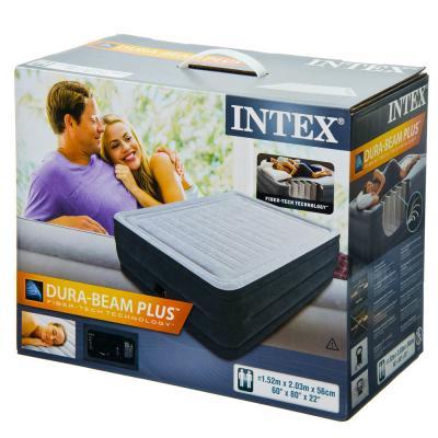 108-010 INTEX Кровать флок Квин комфорт, 152х203х56см, 220в, встроенный насос, 64418