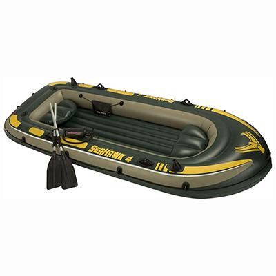 109-105 Набор: лодка 68350, плюм 122 см, алюм.весла, насос, 351х145х48 см, INTEX Морской сокол 4, 68351
