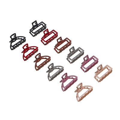 324-110 Заколка-краб для волос, металл, пластик, 5см, 6 цветов, 4426-9