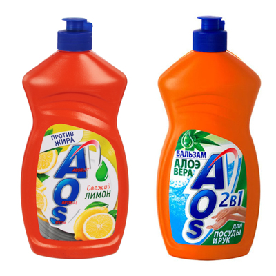 992-035 Средство для мытья посуды AOS Лимон п/б450гр, арт 1118-3