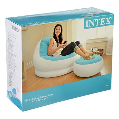 109-168 INTEX Кресла для отдыха надувные (стульчик и мягкая скамеечка для ног) 104х109х71см, 68572