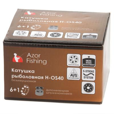142-033 AZOR Катушка безынерционная H-OS40, 6+1 п.п, задний фрикцион (2 шпули: металл, пластик)