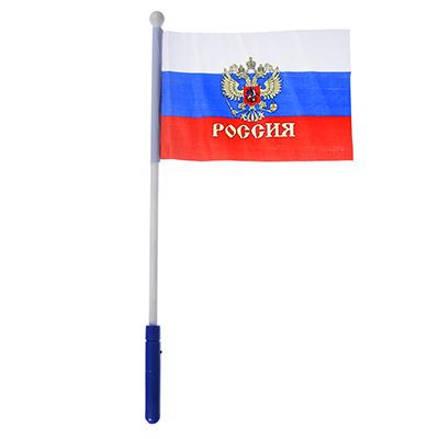 528-086 Патриот с гербом Флажок 16х24см, палочка световая 43см, полиэстер, пластик