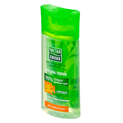 977-045 Лосьон-тоник Чистая линия для жирной кожи на отваре целебных трав Календула 100мл