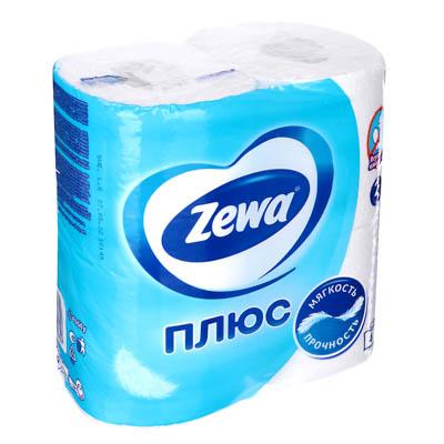 918-010 Туалетная бумага Зева Плюс двухслойная Белая 4шт