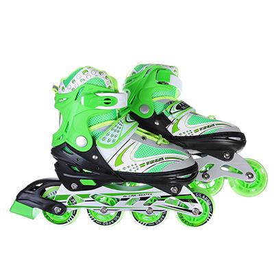 129-132 SILAPRO Коньки роликовые раздвижные база алюминий, колеса полиуретан (со светом) M:34-38, зеленый
