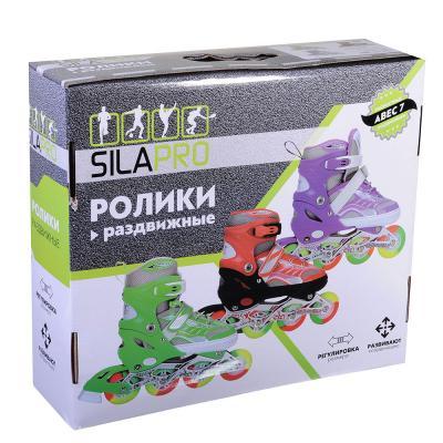 129-140 SILAPRO Коньки роликовые раздвижные база алюминий, колеса полиуретан (со светом) L:39-42, красн-черн