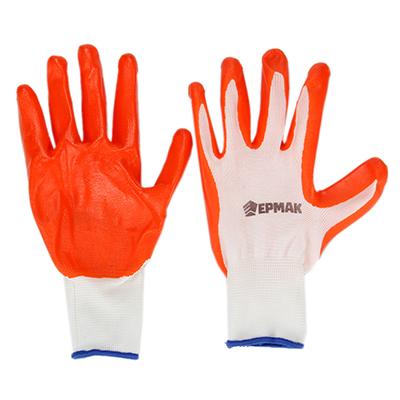 Перчатки рабочие нейлоновые с резиновым полуобливом, 10 размер, 23x13см