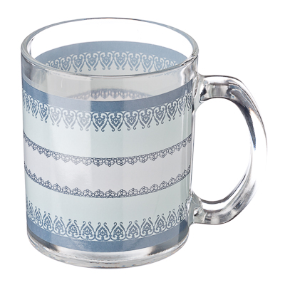 830-435 VETTA Синий орнамент Кружка стекло 270мл, S2348-R107