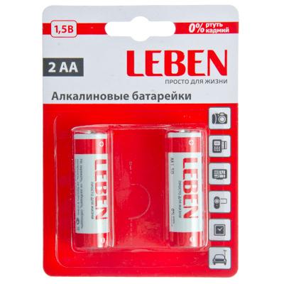 "917-036 LEBEN Батарейки 2шт ""Alkaline"" щелочная, тип AA, 1,5В"