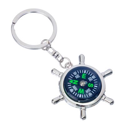 "732-021 NEW GALAXY Брелок ""Штурвал"", 3D, металл, 48x48x11мм, компас"
