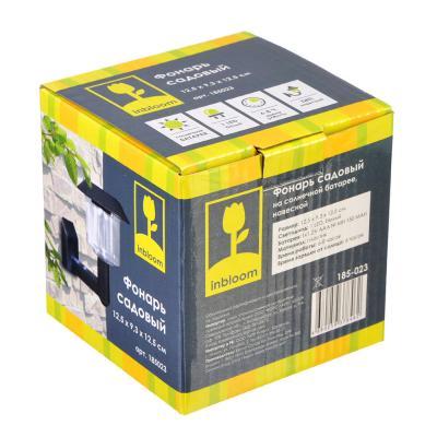 185-023 INBLOOM Фонарь садовый на солн. батарее, навесной, пластик, 12,5х9,3х12,5см