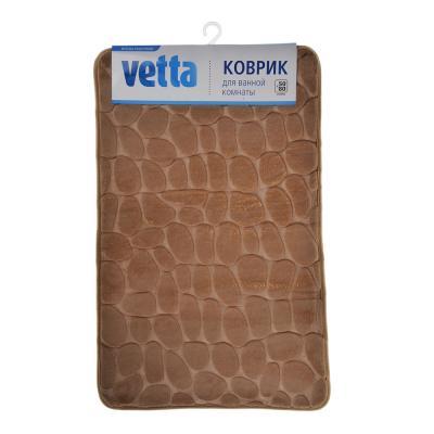 """462-602 VETTA Коврик для ванной микрофибра, принт, 1,5см, 50х80см, """"Камушки"""", 2 цвета"""