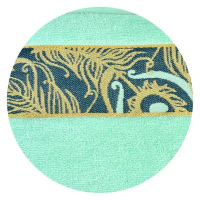 484-758 Полотенце махровое, 100% хлопок 350гр, 70x120см, с золотым бордюром, 3 цвета, 1801-02630