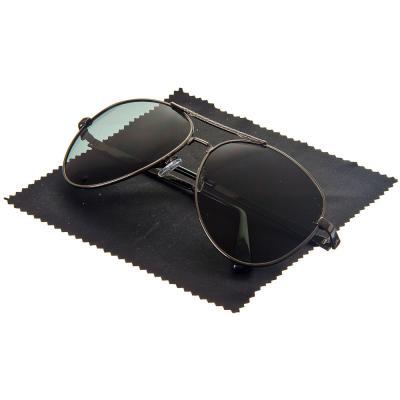 760-001 Очки поляризационные, солнцезащитные + салфетка, оправа металл, линзы черные, NEW GALAXY Кобра