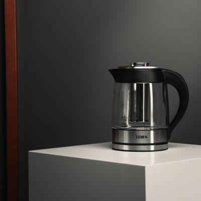 291-009 LEBEN Чайник электрический 1,8л, 1850Вт, скрытый нагр.элемент, стекло c заварочным фильтром