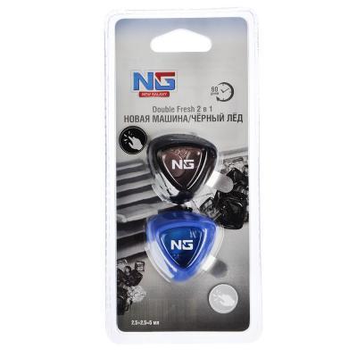 """794-445 Ароматизатор в машину на дефлектор, аромат новая машина/ черный лед, """"Double Fresh 2 в 1"""" NEW GALAXY"""