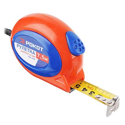 658-080 РОКОТ Рулетка 7,5м х24мм (двухцветный корпус)