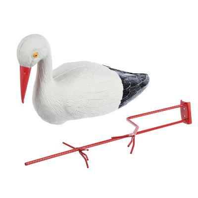 """162-120 Птица пластиковая """"Белый аист"""", 32x13x53см, W016, из 2-х частей"""