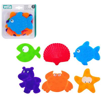 """403-074 Набор мини-ковриков для ванны противоскользящих 6шт, ПВХ, 6 дизайнов, VETTA """"Цветные"""""""