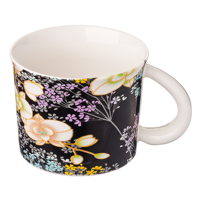 806-149 Кружка 425мл, фрф, Орхидеи, 4 дизайна