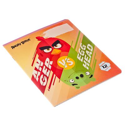 """524-169 Тетрадь 12л в клетку, офсет, обл. мел. картон, ВД лак, скрепка, """"Angry Birds"""", AB21/5"""